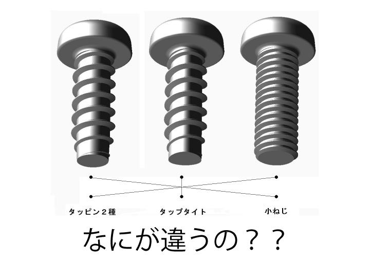 【ねじの知識】小ねじ・タッピンねじ・タップタイト何が違うの?